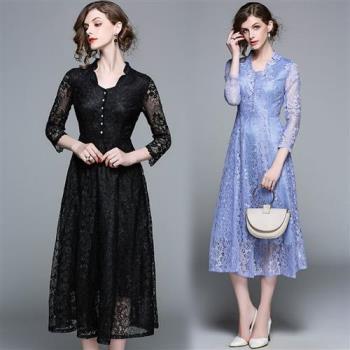 【M2M】V領蕾絲單排釦飾洋裝M-2XL(共二色)