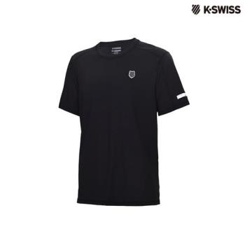 K-Swiss Poly Tech w/mesh Tee運動排汗T恤-男-黑