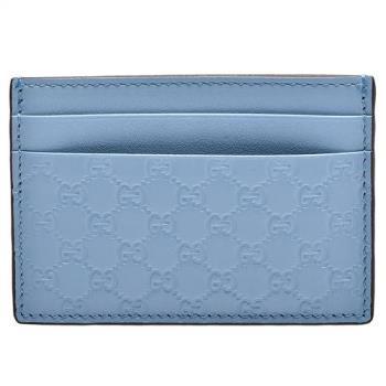 GUCCI 經典Guccissima壓紋牛皮萬用信用卡夾(淡藍色)