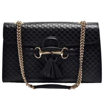 GUCCI 經典Gucci Signature系列牛皮壓紋馬銜流蘇造型暗釦手提/肩背包(黑色)