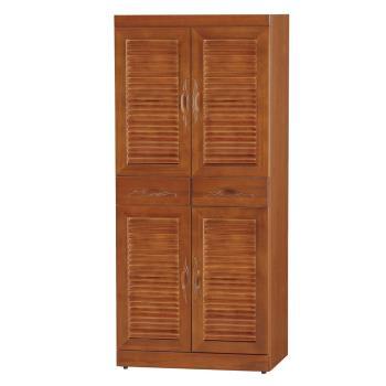 Bernice-維姆2.6尺實木四門二抽百葉高鞋櫃