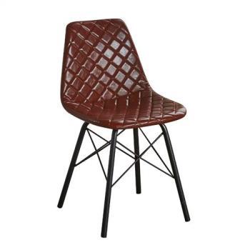 【ATHOME】工業風設計咖啡菱格皮質鐵藝餐椅(42*45*80cm)韋恩