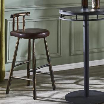 【AT HOME】工業風設計圓形軟墊吧台椅(40*44*91cm)卡恩