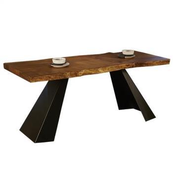 【AT HOME】工業風設計史瓦龍6.6尺厚切原木鐵藝餐桌工作桌(200*70*76cm)