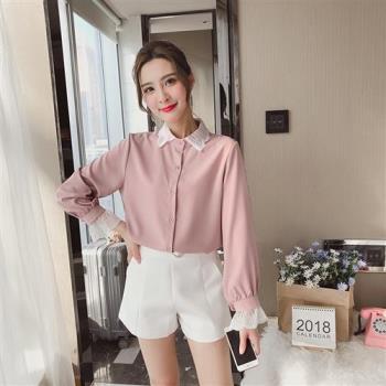 Bubble CoCo 氣質蕾絲領粉色襯衫 UB436