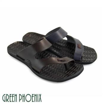 GREEN PHOENIX 鏤空皮革編織壓紋全真皮夾腳拖鞋(男鞋)T36-16151