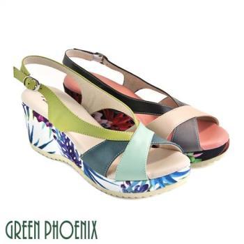 GREEN PHOENIX 多彩繽紛花卉撞色輕量楔型涼鞋U27-20836