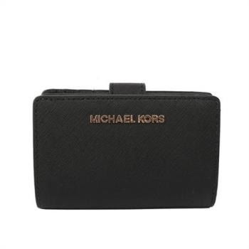 MICHAEL KORS 素面防刮皮革中夾(黑色)35F7GTVF2L BLACK