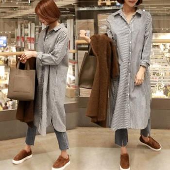 韓國K.W. 玩美法式條紋中長款襯衫外套