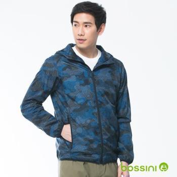bossini男裝-長袖連帽風衣海軍藍