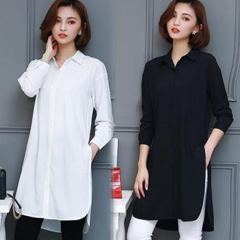 韓國K.W. 魔幻法式素色襯衫外套二用