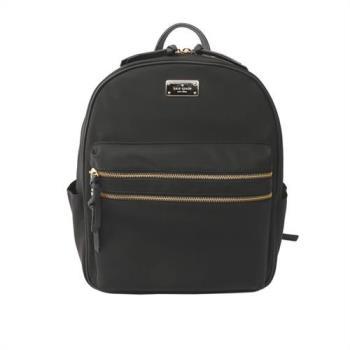 KATE SPADE 素面尼龍金色雙拉鏈後背包(中款)(黑色)WKRU4710 001