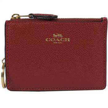 COACH 12186 經典LOGO防刮皮革證件鑰匙零錢包.紅