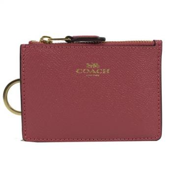 COACH 12186 經典LOGO防刮皮革證件鑰匙零錢包.暗桃紅