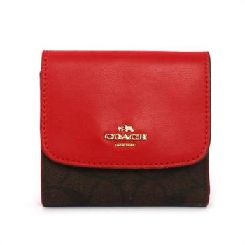 COACH 馬車LOGO PVC拼皮革三折短夾(紅色)F87589 IML72