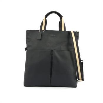 COACH 全皮雙口袋可摺式手提/側背包(午夜藍)F54759 MID