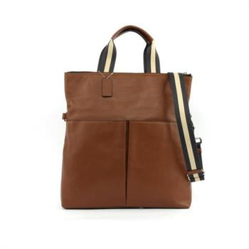 COACH 全皮雙口袋可摺式手提/側背包(焦糖)F54759 CWH