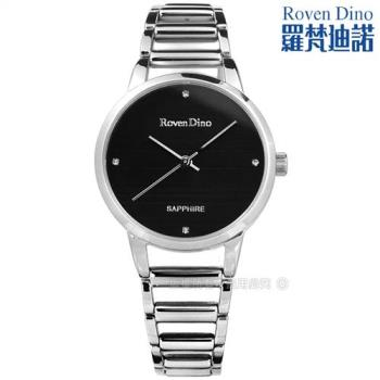 羅梵迪諾 Roven Dino / RD722S-black / 時尚晶鑽橫紋藍寶石水晶鏤空手錶 黑色 30mm