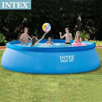 【INTEX】簡易裝EASY SET大型游泳池(附濾水泵)+送電動幫浦_457x107cm(12430L)適用6歲+(26165)
