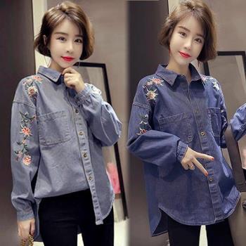 韓國K.W. 嬌豔佳人 花朵繡花休閒襯衫