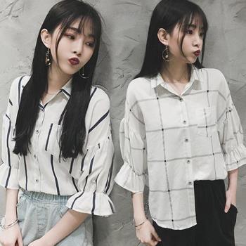 韓國K.W.喇叭袖學院風襯衫