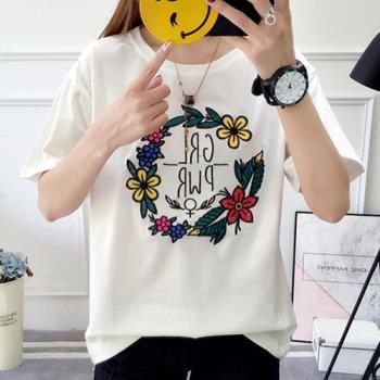 韓國K.W.韓國刺繡花圈短袖上衣T恤