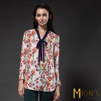 MONS法式優雅花卉蠶絲上衣