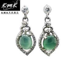 KMK天然寶石~2.1克拉~南非辛巴威天然綠玉髓~耳環