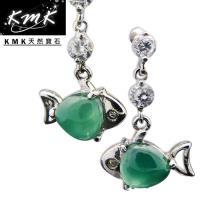 KMK天然寶石~2.2克拉~南非辛巴威天然綠玉髓~耳環