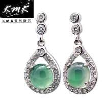KMK天然寶石~2.5克拉~南非辛巴威天然綠玉髓~耳環