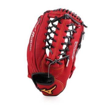 MIZUNO 壘球手套-外野手用-棒球 美津濃 紅黃