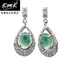 KMK天然寶石~3.20克拉~南非辛巴威天然綠玉髓~耳環