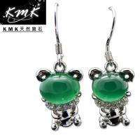 KMK天然寶石~5克拉~南非辛巴威天然綠玉髓~耳環