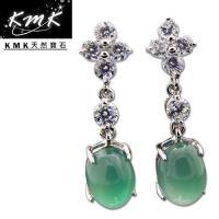 KMK天然寶石~6.5克拉~南非辛巴威天然綠玉髓~耳環