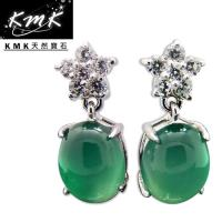 KMK天然寶石~6克拉~南非辛巴威天然綠玉髓~耳環