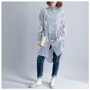 Keer-休閒襯衫領棉麻洋裝-XL-2XL