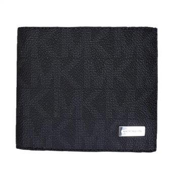 Michael Kors 品味禮盒款荔枝皮紋真皮短夾-黑色