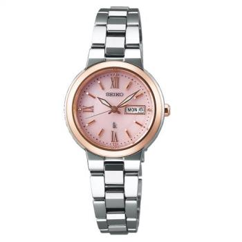 SEIKO精工 LUKIA 太陽能甜美時尚女錶(粉x雙色/26.6mm) V138-0AG0P SSVN030J