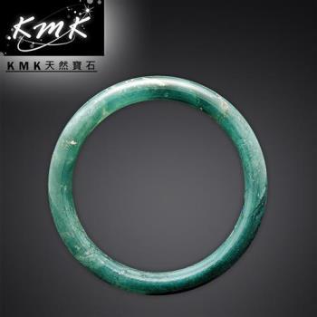KMK天然寶石【飄花翡翠藍寶4.3g】南非辛巴威天然綠玉髓-手鐲