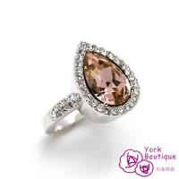 約克精品頂級施華洛世奇元素晶鑽包銠金戒指(SGS認證)