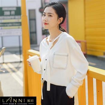 【LANNI 藍尼】率性領口設計款雪紡襯衫(新品熱銷款)