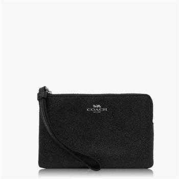 COACH 攜帶便利 十字紋皮革 / 零錢收納 / 手拿包(小款)_黑色