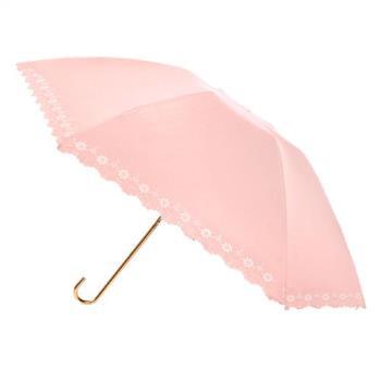 2mm 100%遮光 鏤空花邊黑膠輕量彎把手開傘 (粉色)