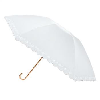 2mm 100%遮光 鏤空花邊黑膠輕量彎把手開傘 (白色)