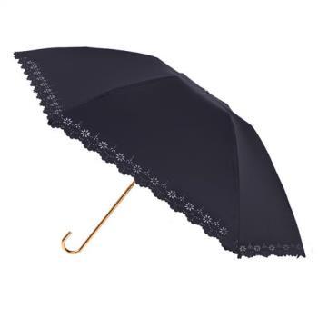 2mm 100%遮光 鏤空花邊黑膠輕量彎把手開傘 (黑色)