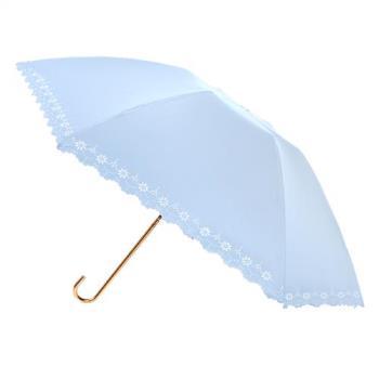 2mm 100%遮光 鏤空花邊黑膠輕量彎把手開傘 (淺藍)