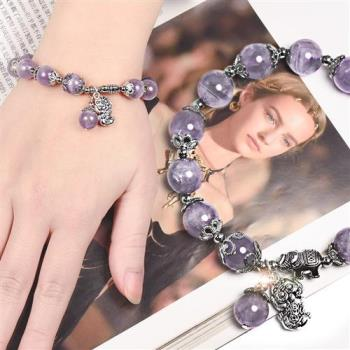 幻光雲彩紫晶貔貅手鍊 林真邑