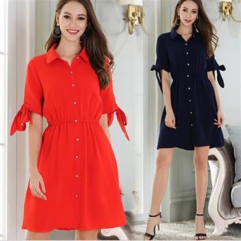 KVOLL  襯衫領排扣蝴蝶綁結袖連衣裙M~5XL(共二色)