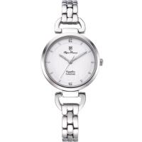 Olym Pianus奧柏表~典雅直線壓紋 腕錶~白 2483LS