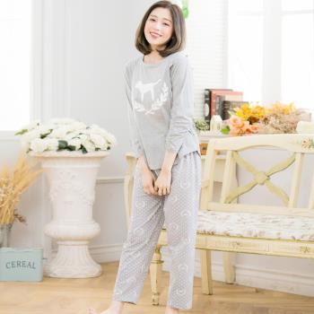 【lingling日系】全尺碼-麥穗狗哺乳孕婦裝居家二件式睡衣組(清新灰)A3508